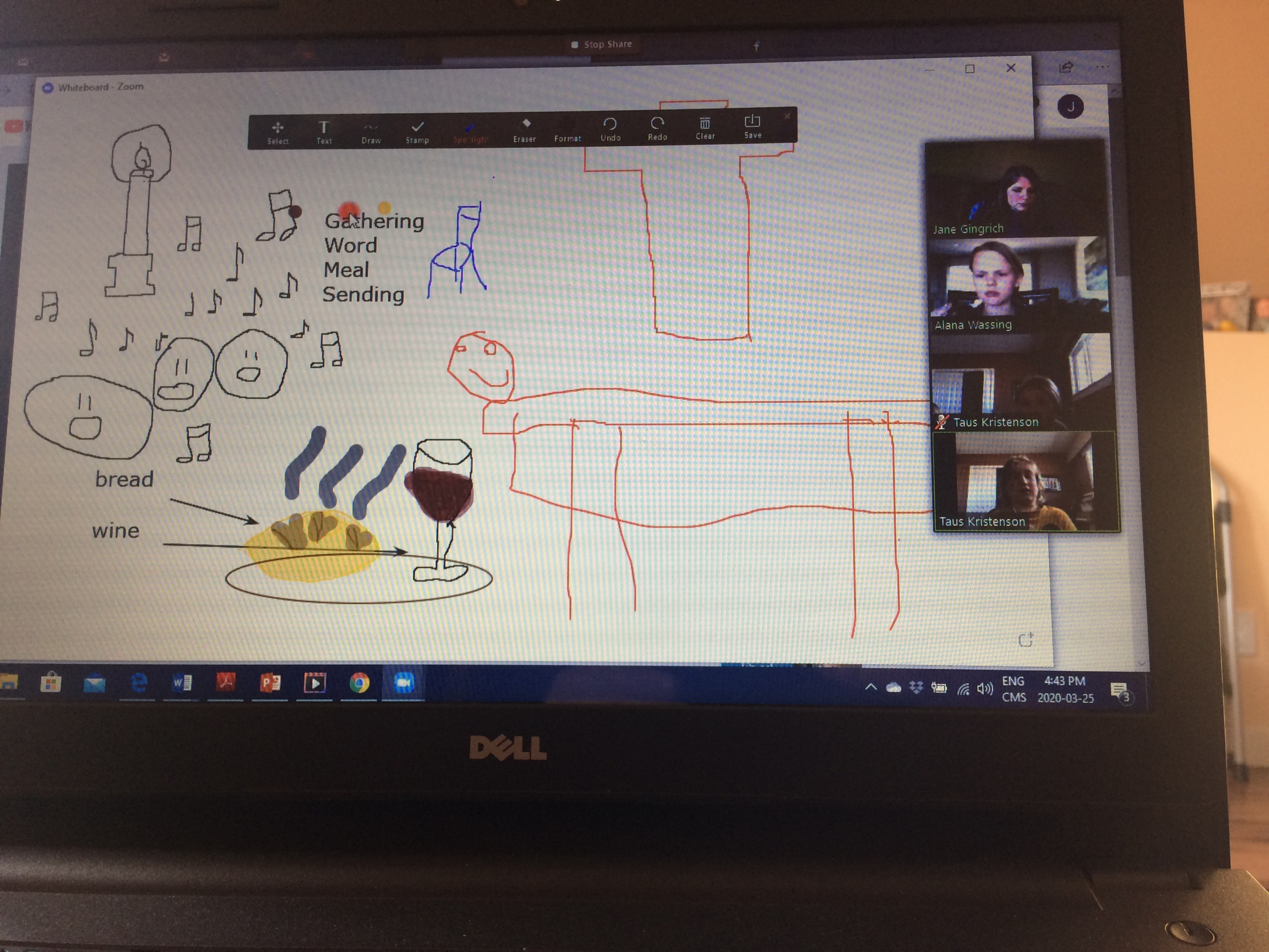 Drawing of bread with wine