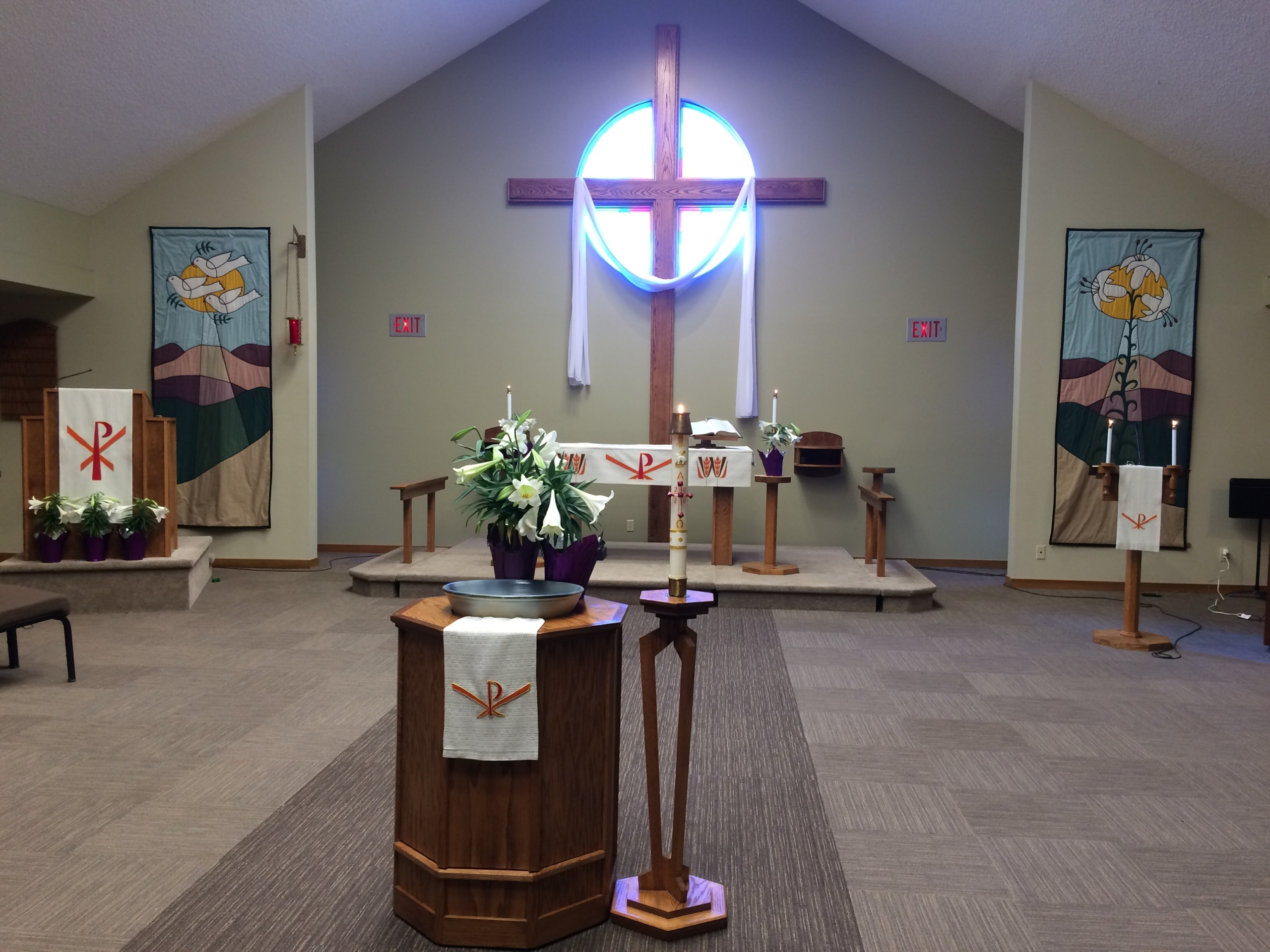 sanctuary decorated for easter